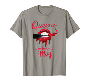 Queens Are Born in May Red Lips Birthday T-shirt