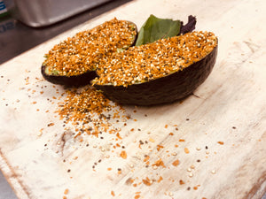 Stuffed Avocado  with Popped Grains