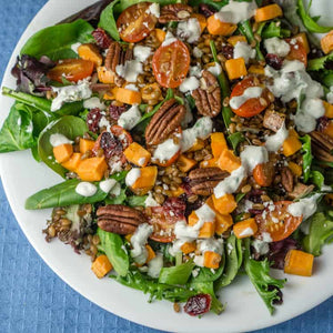 Organic Spicy Greens with Roasted Seasonal Vegetables, Spiced Pecans and Creamy Basil Dressing