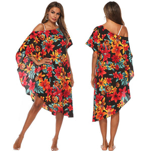 Asymmetry Floral Print Cover Ups