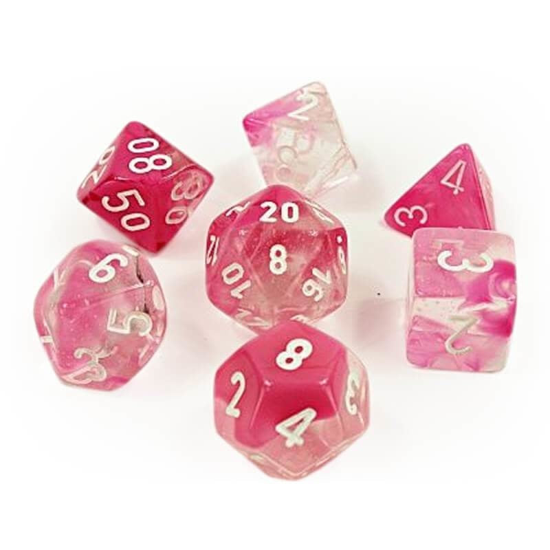 Chessex Lab Dice Nebula: Clear Pink/White Luminary 7 Dice Set | Cosmic Games