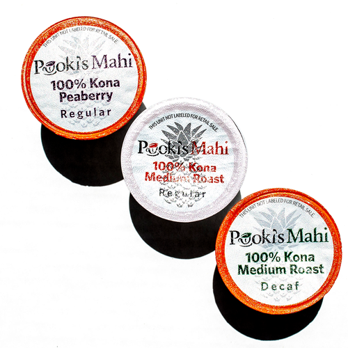 Pooki's Mahi® Kona Kafpresso™ 100 Kona Coffee for Keurig in 100% recyclable capsules available as coffee subscription, wholesale coffee club or VIP distributor reseller. Hawaii Kona coffee Nespresso, Nespresso coffee pods, coffee for Keurig CA Prop 65.