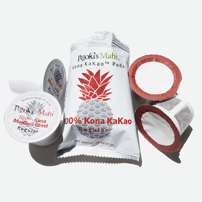 Pooki's Mahi 100 Kona KaKao coffee biocompostable pods - Subscribe to Pooki's Mahi 100 Kona coffee capsules, Kona coffee pods, free shipping, no minimums.