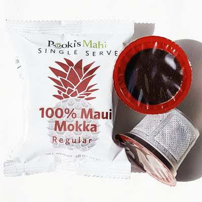 Pooki's Mahi private label coffee - 100 Kona coffee pods, 100 Maui Mokka coffee compostable pods capsule with free shipping. Private label design services, new product launches at an additional cost.