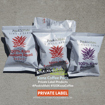 Pooki's Mahi private label coffee - 100% Kona coffee; custom promotional products with private label packaging.