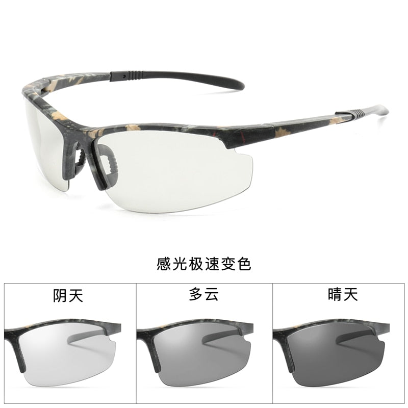 new Photochromic Chameleon Sunglasses Men Driving Polarized Sun glasses for men Half frame sunglasses Sport fashion Sunglasses