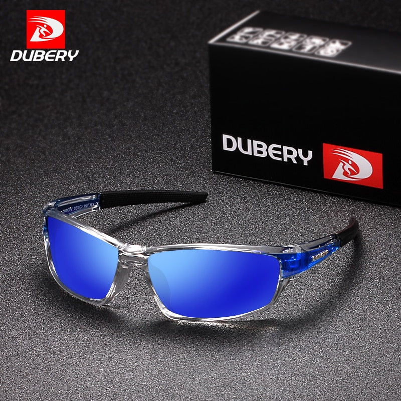 DUBERY Sunglasses Men's Polarized Driving Sport Sun Glasses For Men Women Square Color Mirror  Luxury Brand Designer