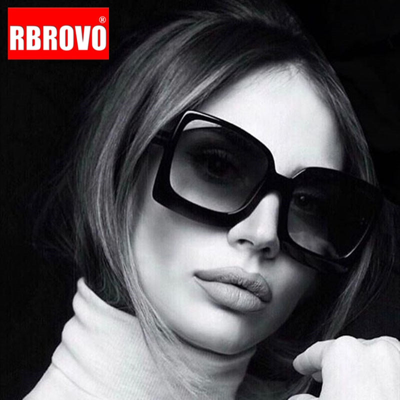 RBROVO 2020 Oversized Sunglasses Women Vintage Sun Glasses for Women/Men Luxury Sunglasses Women Mirror Oculos De Sol Feminino