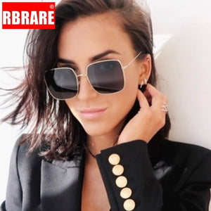 RBRARE Classic Square Sunglasses Women Brand Designer Retro Metal Big Frame Sun Glasses For Men Vintage Gradient Oculos Feminino
