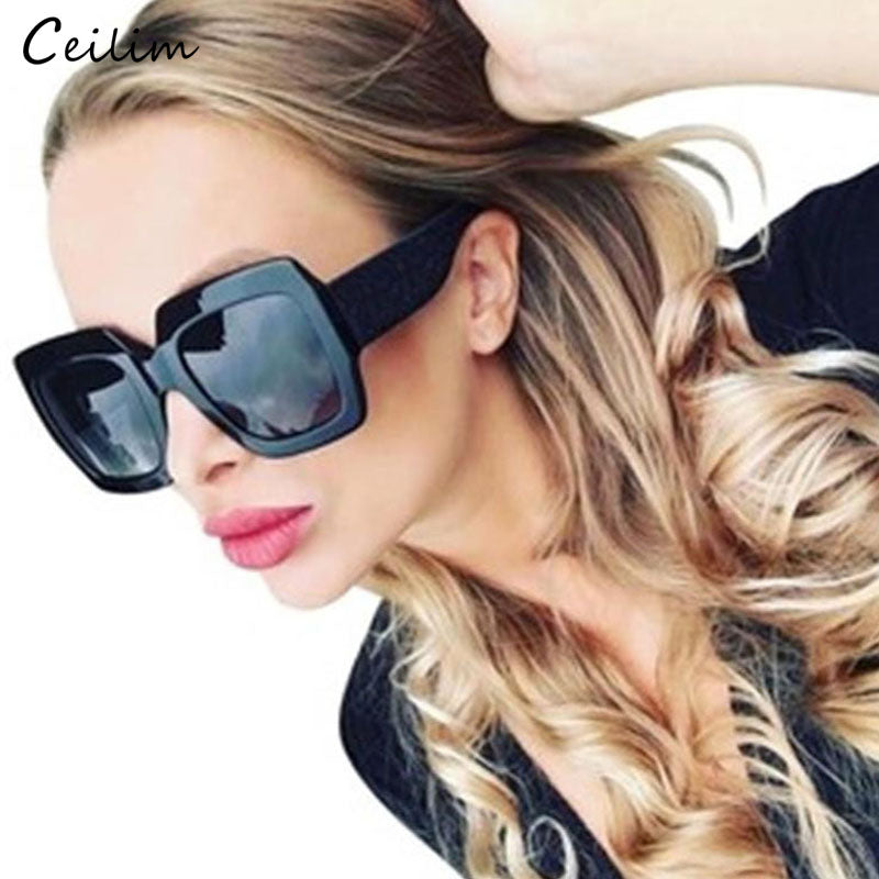 2020 Luxury Big Square Sunglasses Women Brand Designer Retro Clear Sun Glasses For Female Oversized Black Shades oculos UV400