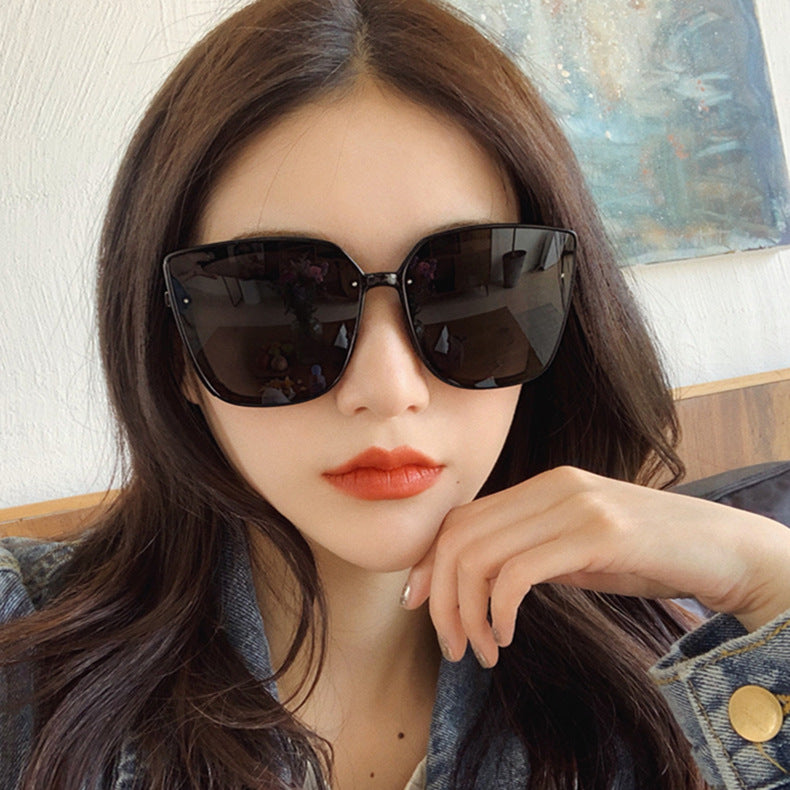 Fashion Oversized Square Sunglasses Women Brand Designer Rimless Gradient Mirror Shades Cutting Lens Sun Glasses UV400 oculos