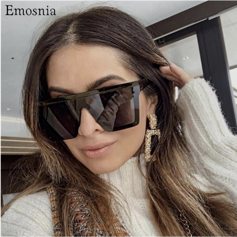 Emosnia Vintage Ovesized Sunglasses Women Shades Luxury Brand Rimless Square Sun Glasses For Men Black Dames