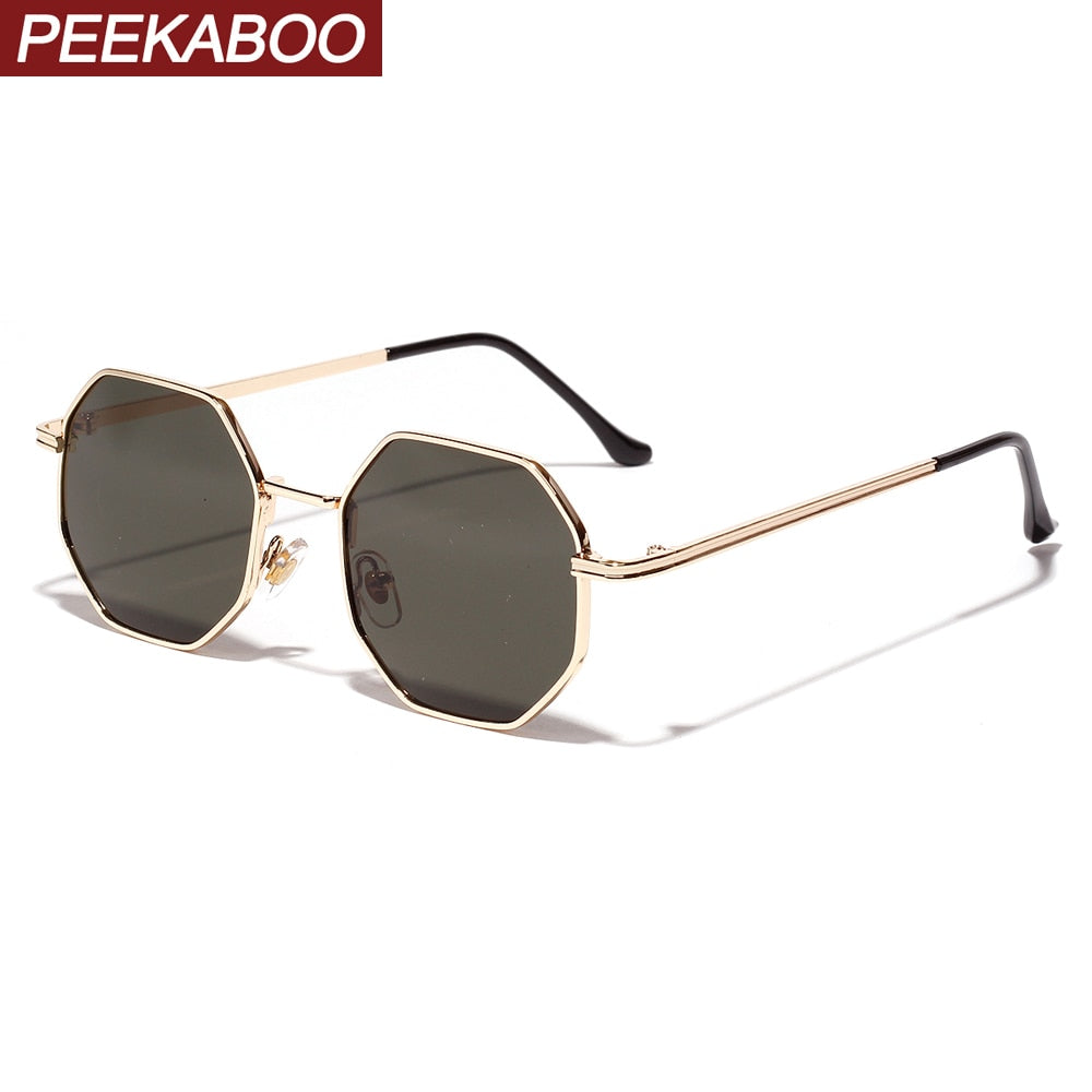Peekaboo women vintage sunglasses men metal gold green brown 2019 male octagonal sun glasses for ladies polygon uv400