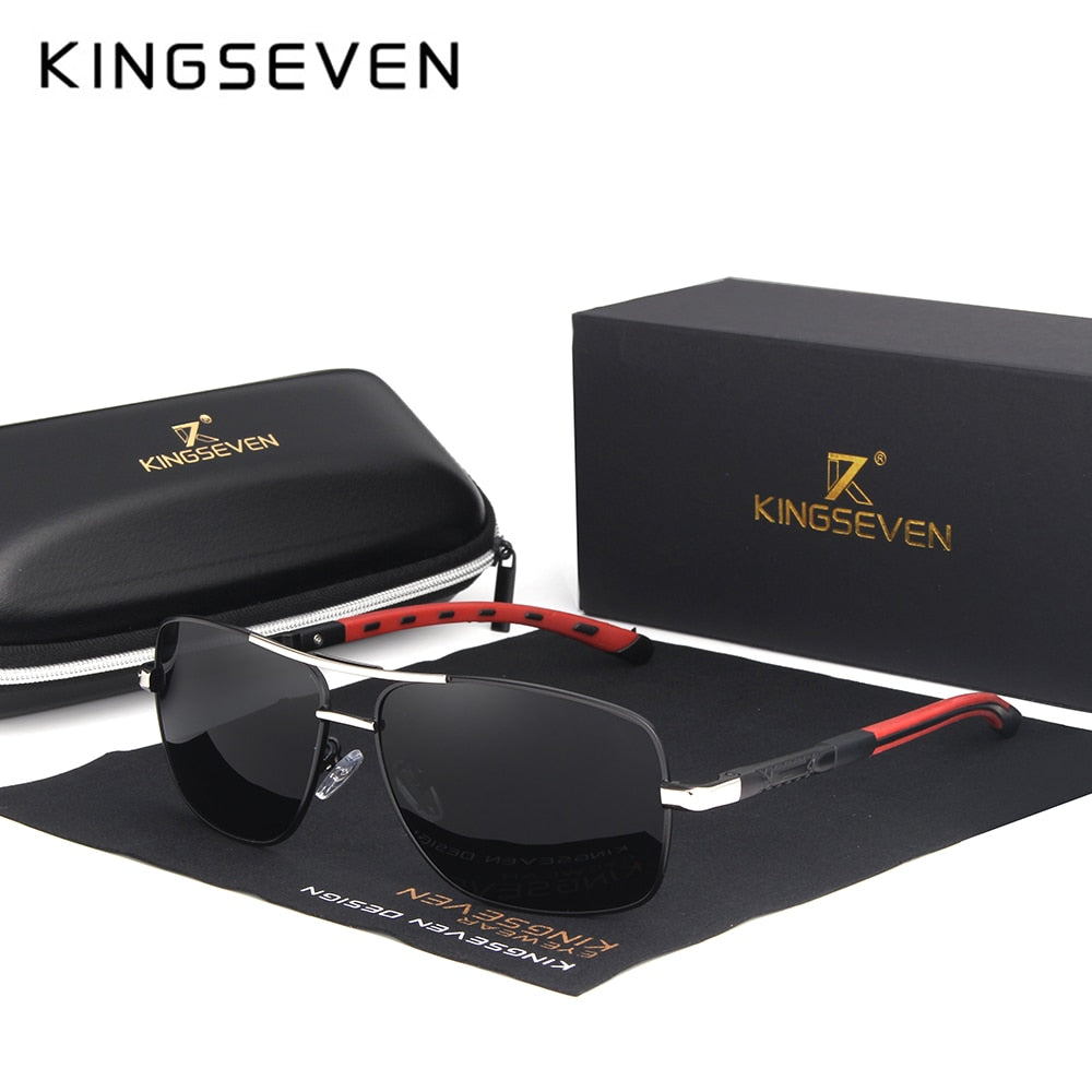 KINGSEVEN 2020 Brand Men Aluminum Sunglasses HD Polarized UV400 Mirror Male Sun Glasses Women For Men Oculos de sol N724