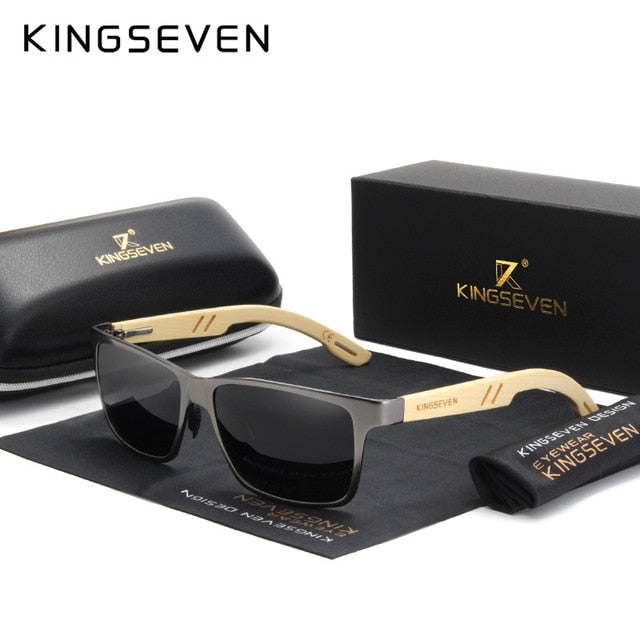 KINGSEVEN Brand Original Design Aluminum+Bamboo Natural Wooden Handmade Sunglasses Men Polarized Eyewear Sun Glasses For Women