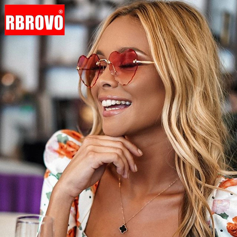 RBROVO Rimless Heart Sunglasses Women Luxury Brand Sun Glasses for Women Vintage Sunglasses Women Designer Lunette Soleil Homme
