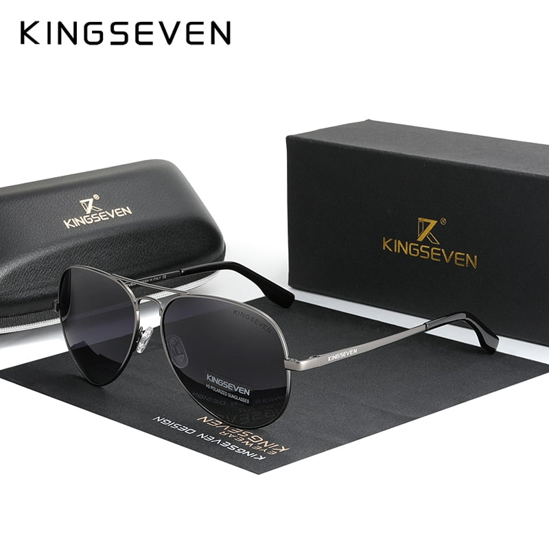 KINGSEVEN Brand Men Aluminum Sunglasses 2020 New Polarized UV400 Mirror Male Sun Glasses Women For Men Oculos de sol 7735