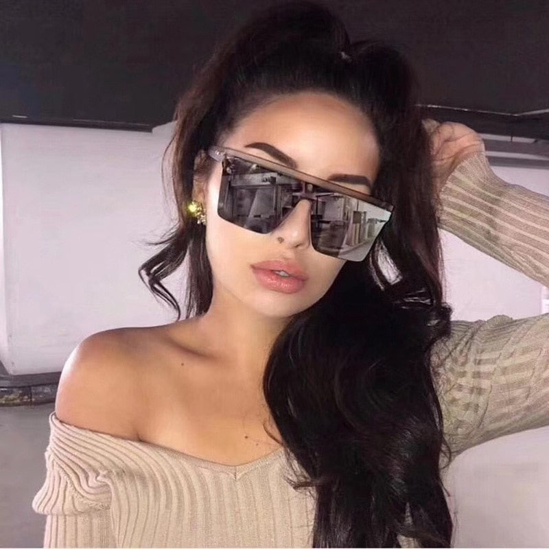 New Black Square Sunglasses Women Big Frame Fashion Retro Mirror Sun Glasses Female Brand Vintage Lady Lunette De Soleil Femme