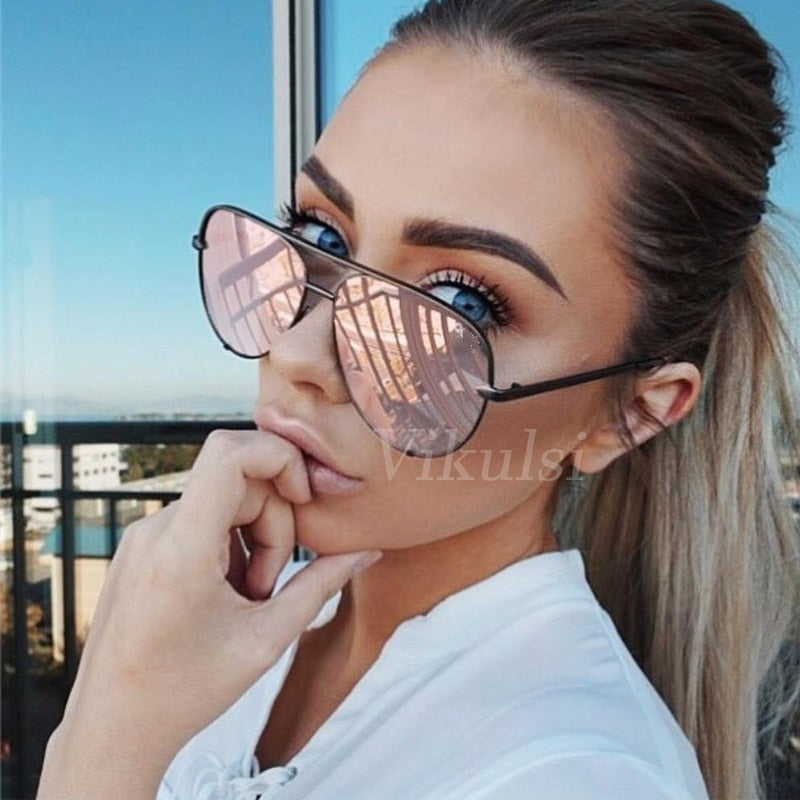 New Brand Designer Fashion Sunglasses Women's Oversized Pilot Sun glasses For Women Luxury Shades 2020 New Lunettes Femme UV400