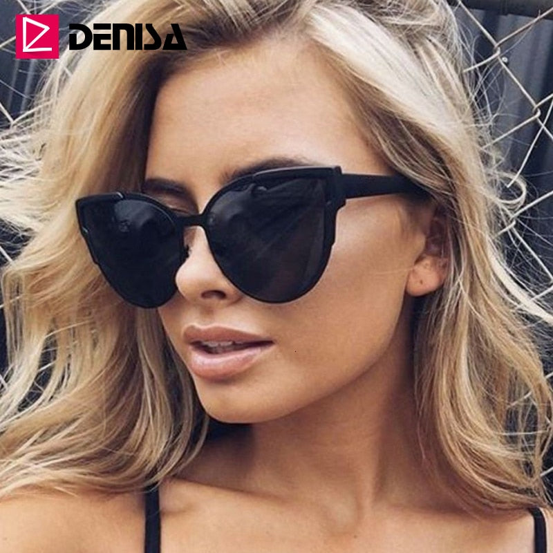 DENISA Vintage Cateye Sunglasses Women Luxury Brand Blue Mirror Sun Glasses Retro Black Shades For Women UV Protection G9018