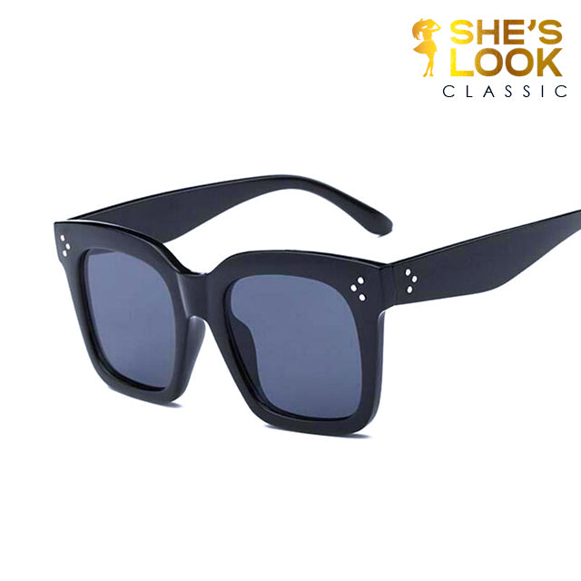 SHESLOOK CLASSIC 2020 Flat Top Oversize Vintage Sunglasses Women Luxury Brand Designer Shield Shape Sun Glasses for Women Female UV400 Rivet Sunglases