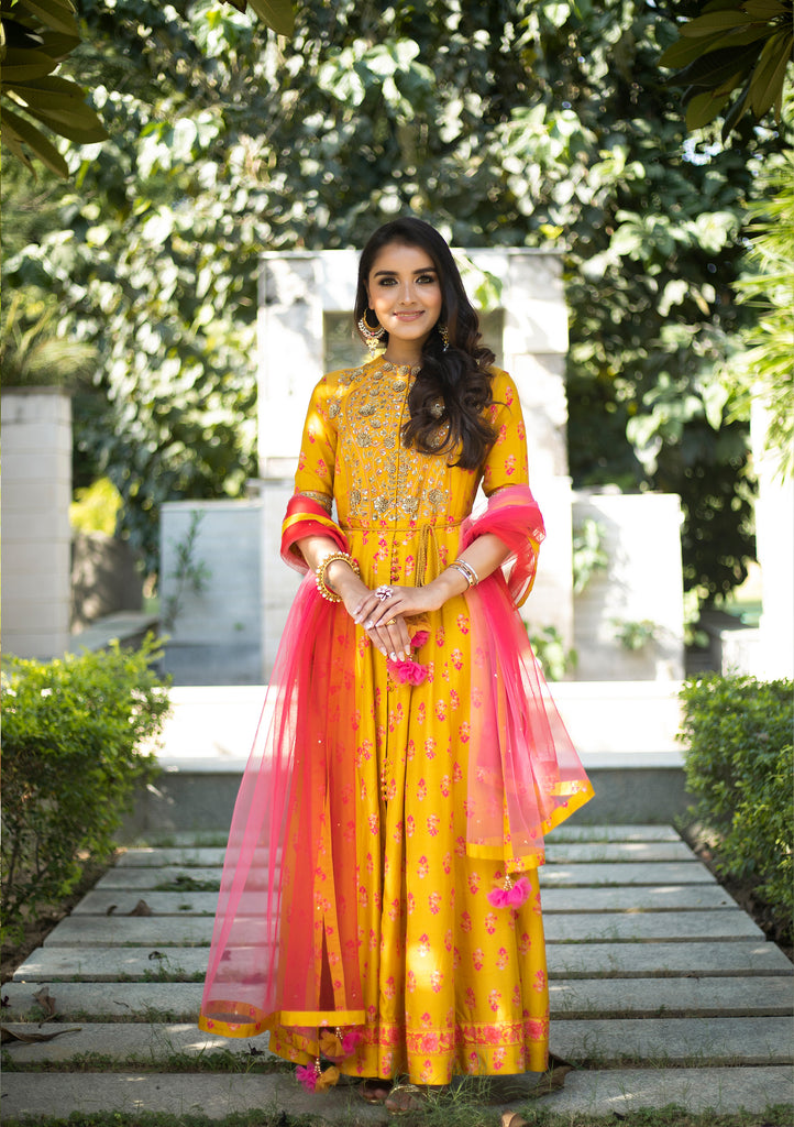 Mustard Yellow Anarkali Set.