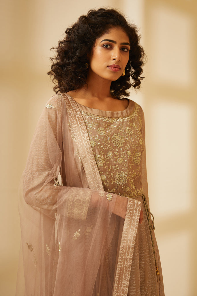 Natural Beige Anarkali Set