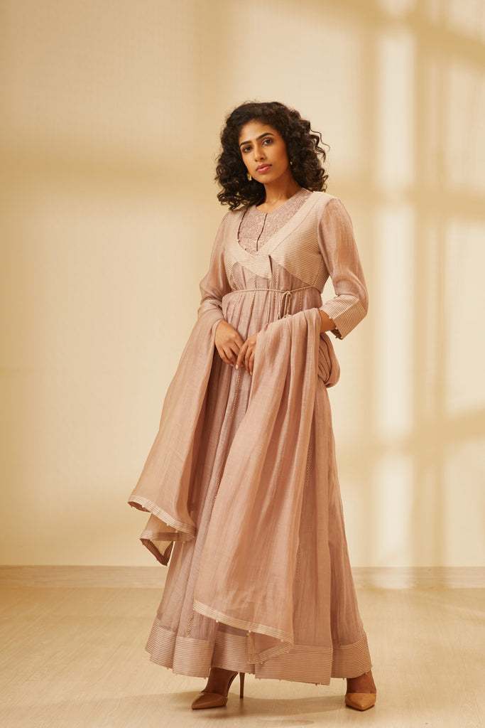 Old Rose Pink Angrakha Set.