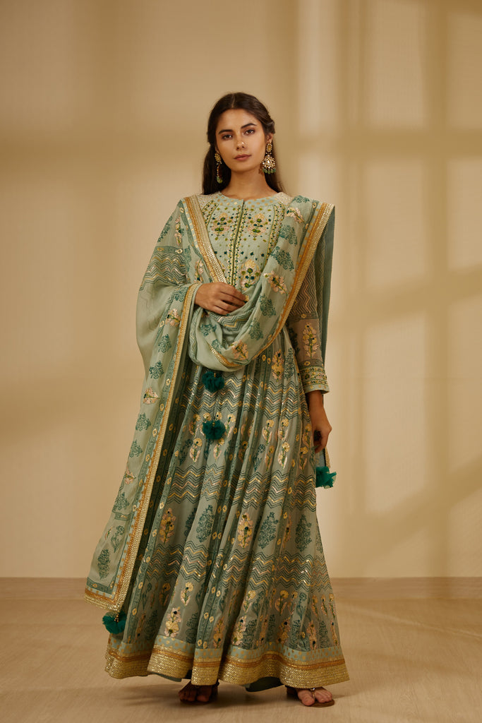 Light Sea Green Anarkali Set.