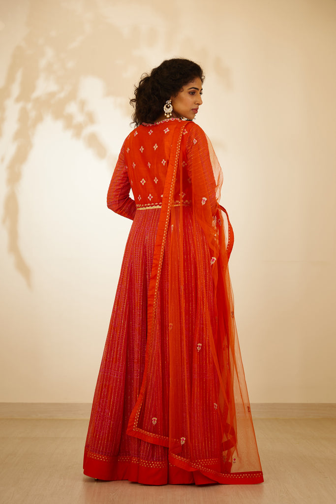 Burnt Orange Anarkali Set.