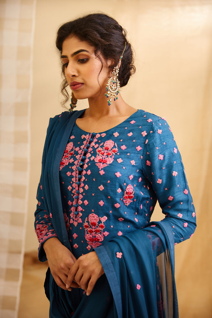 Teal Blue Kurta Set.