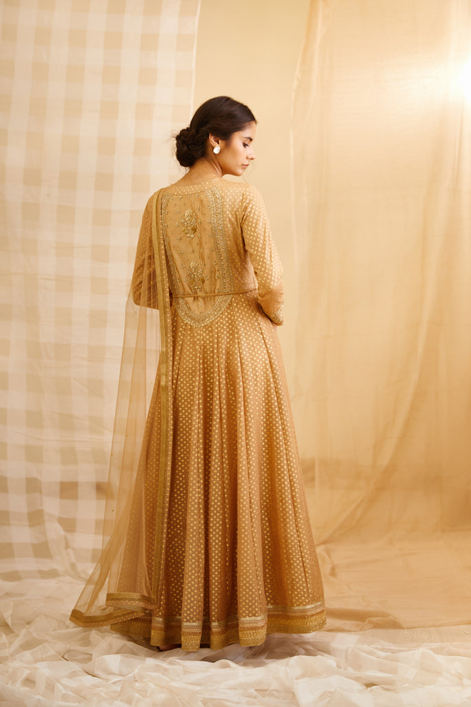 Gold Anarkali Set.