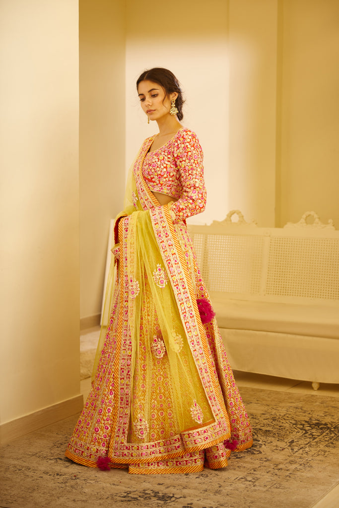 Multicolored Lehenga Set.