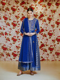 Royal Blue Anarkali Set.