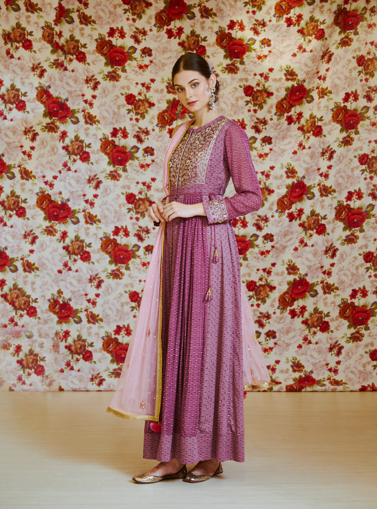 Light Mauve Anarkali Set.