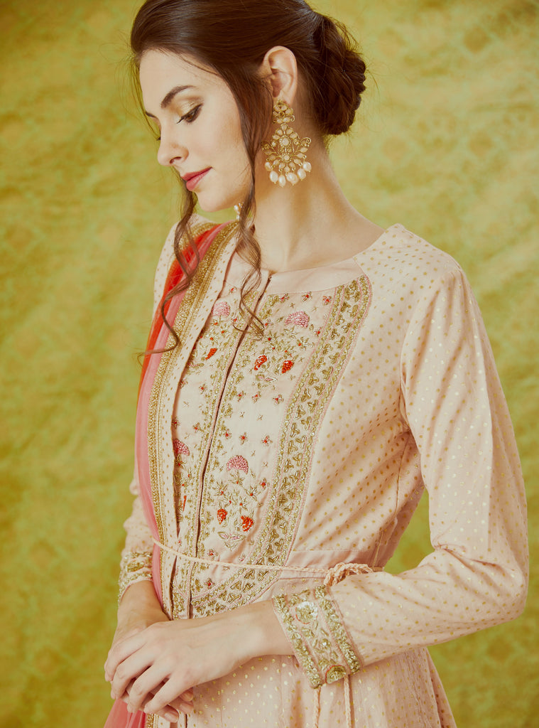 Light Pink Anarkali Set.
