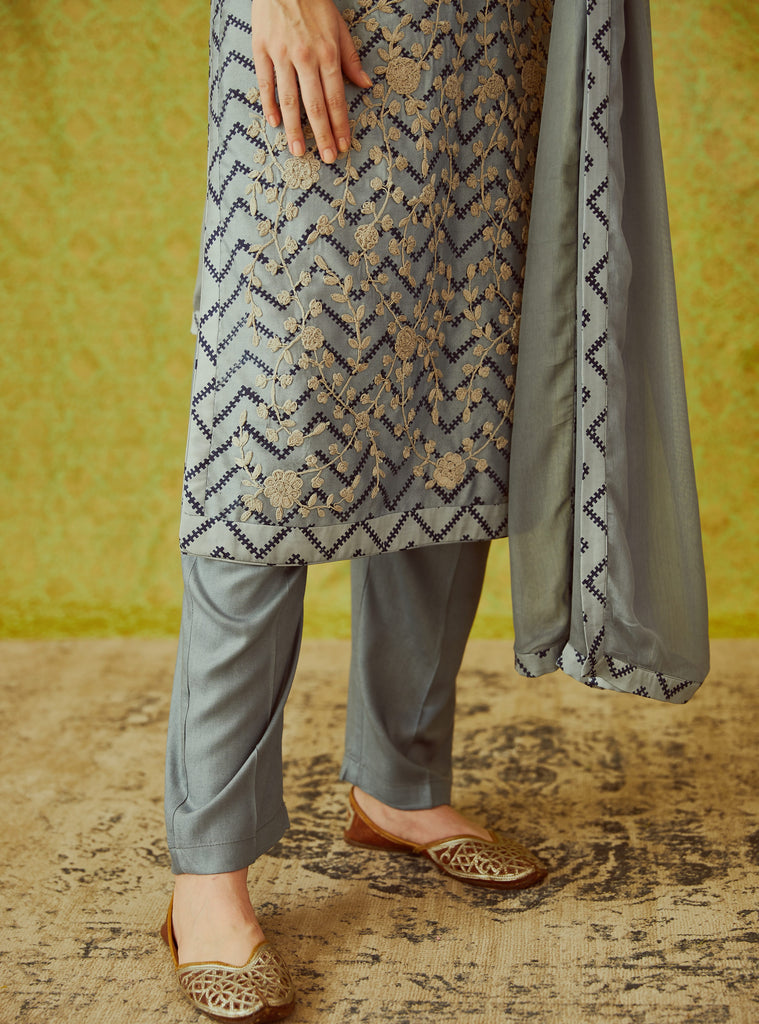 Grey Blue Kurta Set.