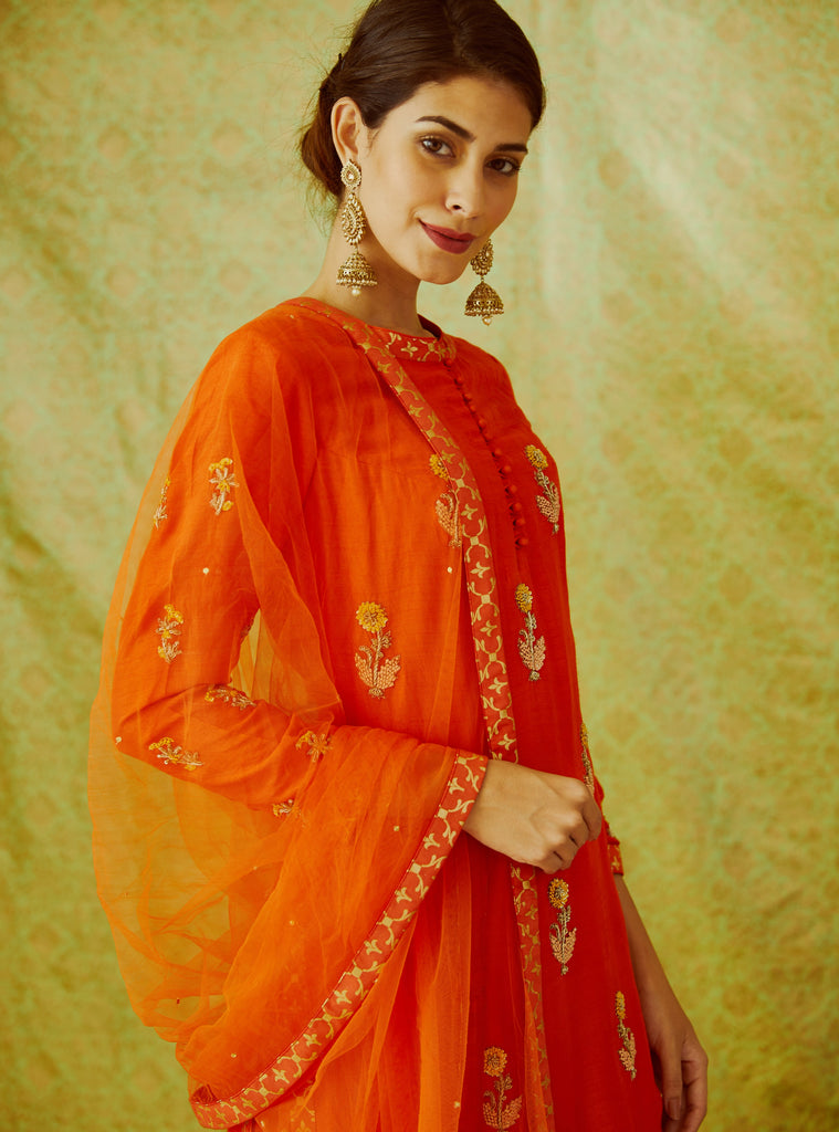 Orange Kurta & Skirt Set.