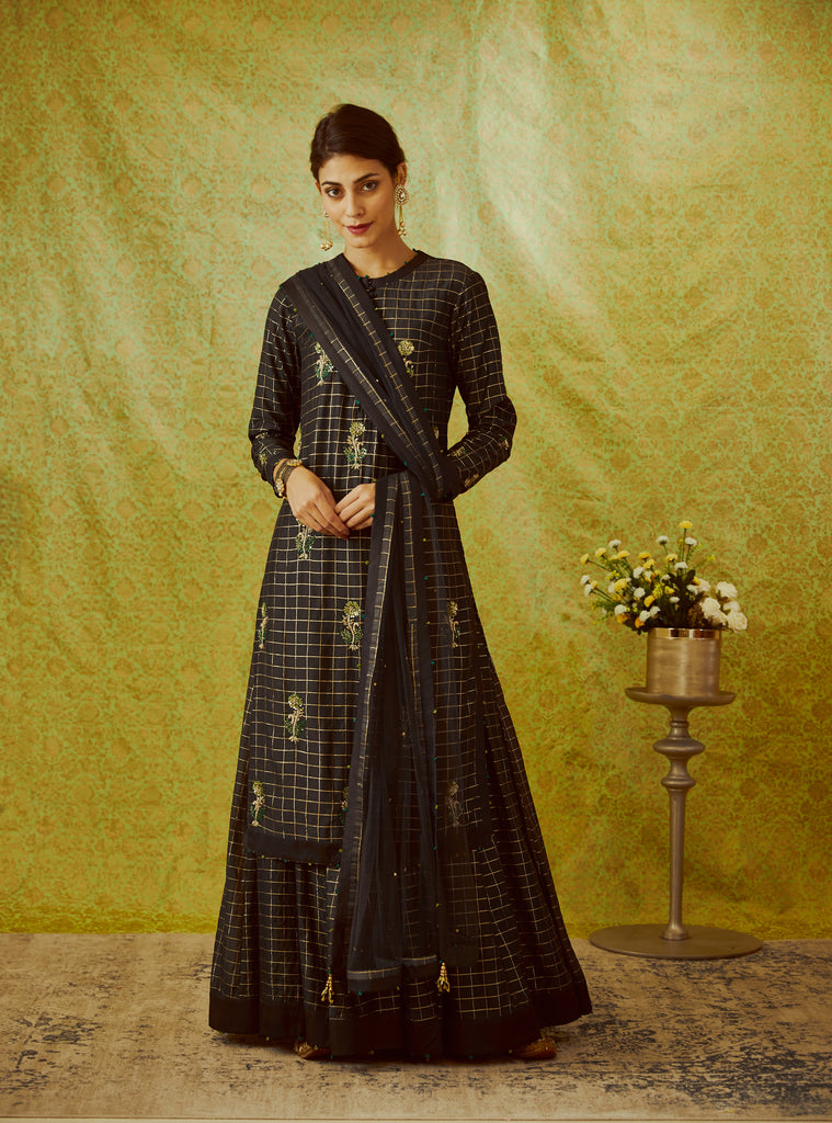 Black Kurta & Skirt Set.