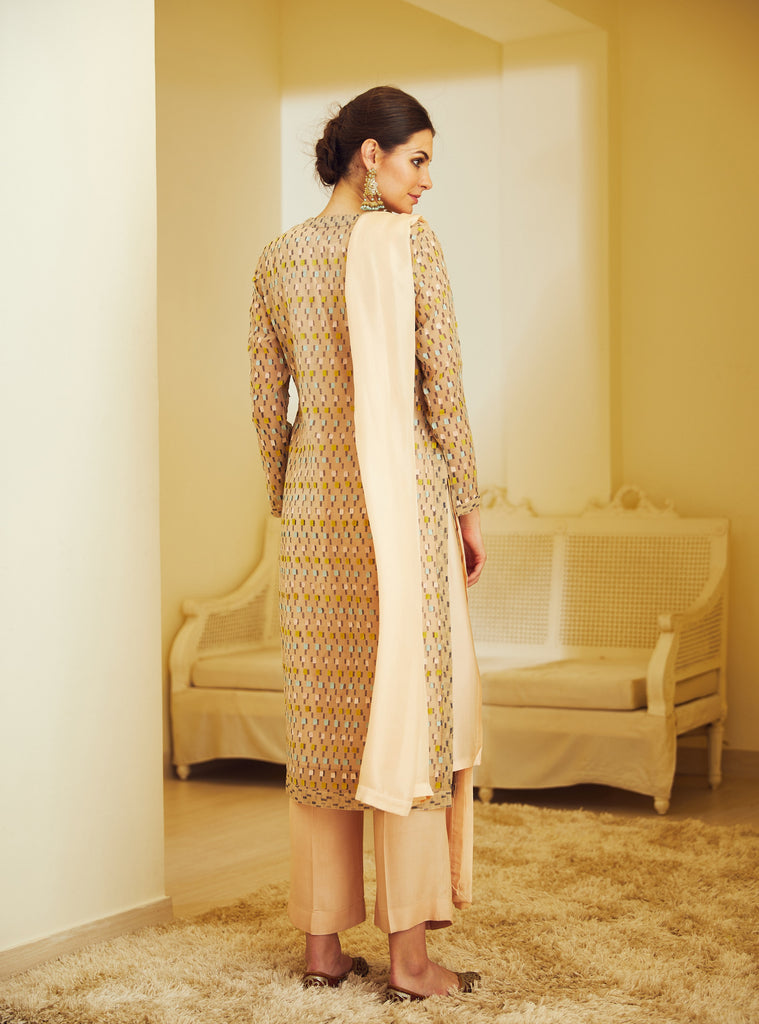 Nude Peach Kurta Set.