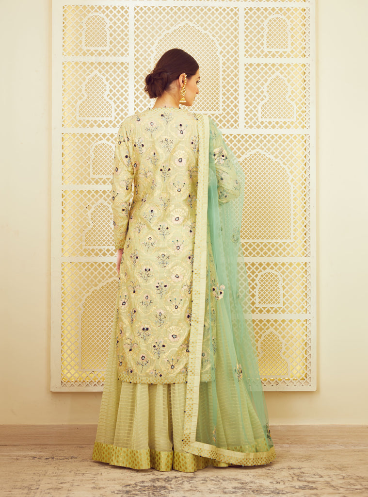 Lemon Green Kurta & Skirt Set.