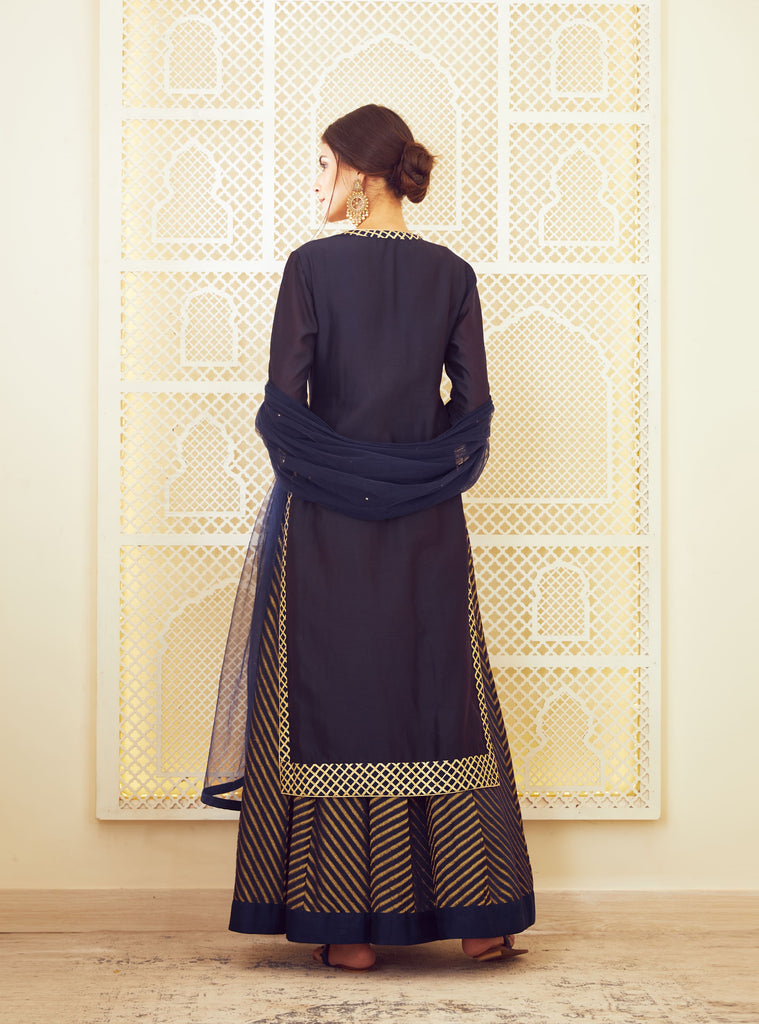 Navy Blue Kurta & Skirt Set.