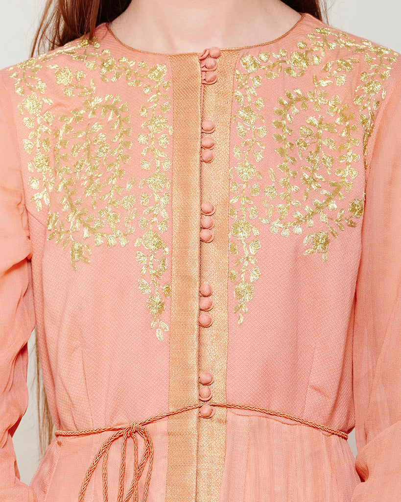 ROSE PINK LONG KURTA WITH GOLD PRINTED MOTIFS