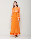 SUNSET ORANGE CHIFFON FRONT OPEN ANGRAKHA WITH TOP AND TROUSER