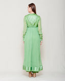 MINT GREEN CHIFFON FRONT OPEN ANGRAKHA WITH TOP AND TROUSER