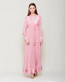 POWDER PINK CHIFFON FRONT OPEN ANGRAKHA WITH TOP AND TROUSER