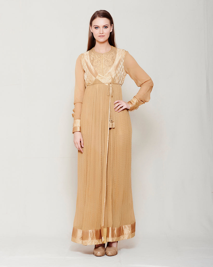 BEIGE LT BROWN CHIFFON FRONT OPEN ANGRAKHA WITH TOP AND TROUSER