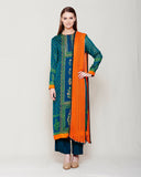 DARK GREEN ORANGE BLOCK PRINTED ANARKALI WITH ZARDOZI THREAD WORK