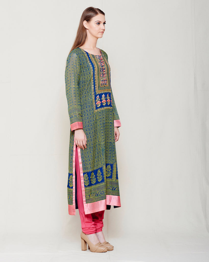 CARBON BLUE YELLOW BLOCK PRINTED ANARKALI WITH ZARDOZI THREAD WORK