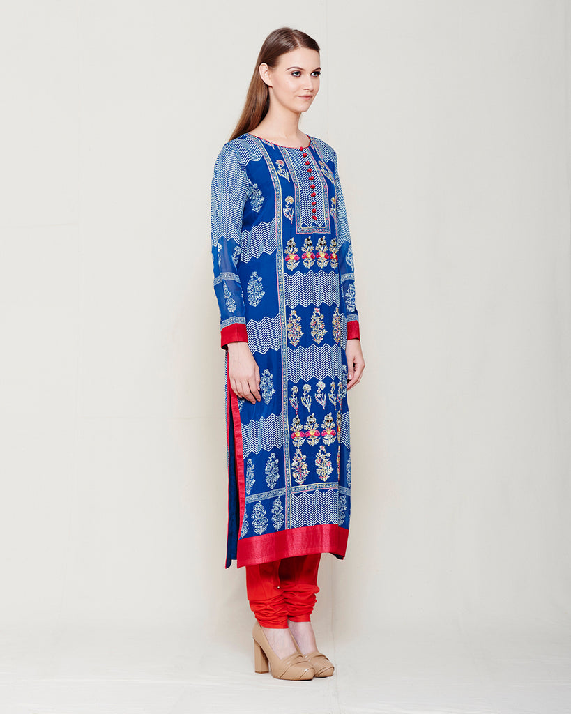 BLUE OFF WHITE BLOCK PRINTED ANARKALI WITH ZARDOZI THREAD WORK